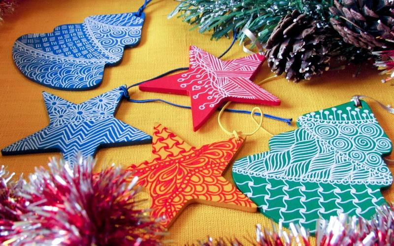 Новогодние украшения своими руками - в стиле зентангл (зенарт)