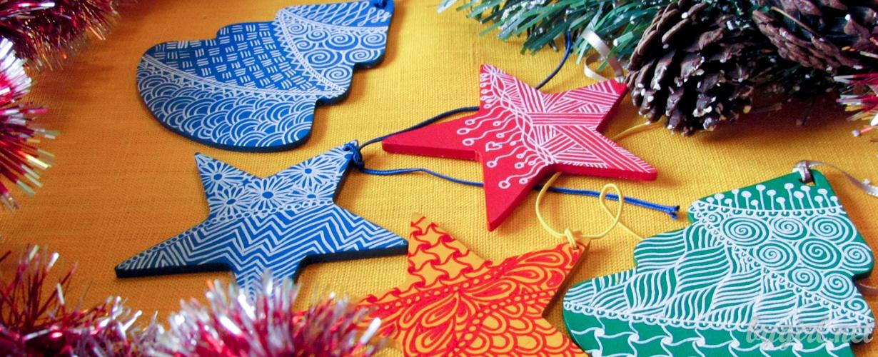 рисуем по дереву - новогодние деревянные фигурки