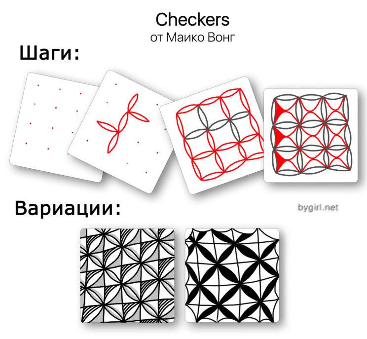 пошаговые уроки - зентангл для начинающих: узор Checkers